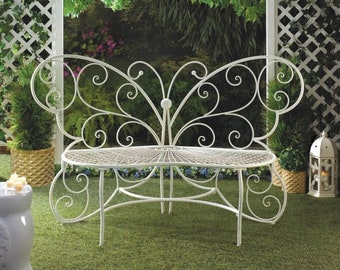 Butterfly Garden Bench, Garden Bench, Bench, Outdoor, Garden Decor, Metal,  Metal Chair, Metal Bench, Butterfly, Patio Furniture, Love Seat