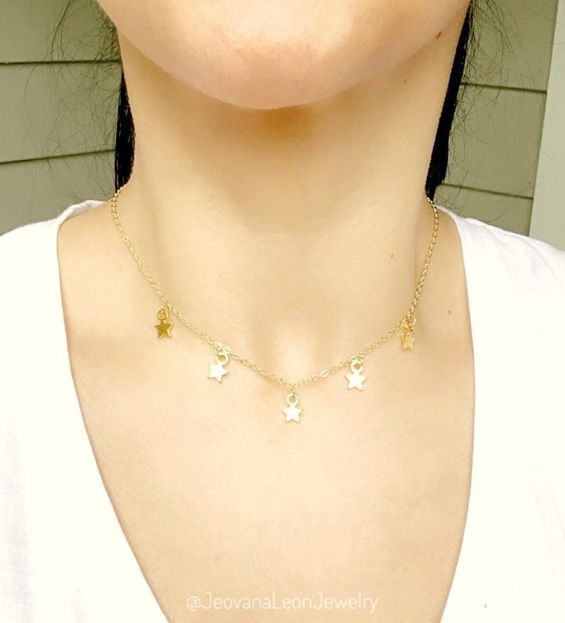 5 Dainty Stars Charms Minimalist Necklace Adjustable choker Gold Mini Stars Necklace Gift Idea Birthday Gift Gold plated metal alloy