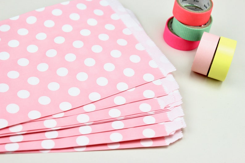 Paper Bags pink white Dots Candy Bar Wedding Pastel Bags birthday Polka Dots give away Candybag