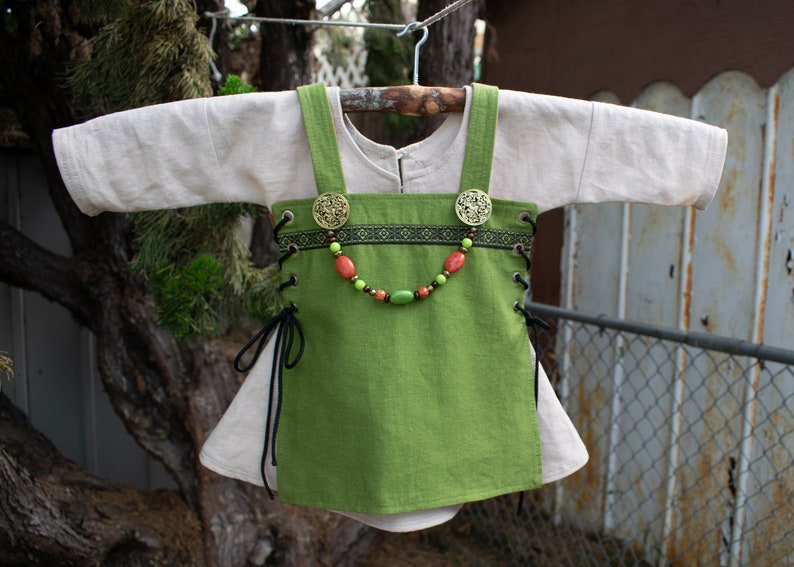 18-24 mo Viking apron /& underdress Viking apron dress complete outfit reversible and adjustable apron toddler dress child gift
