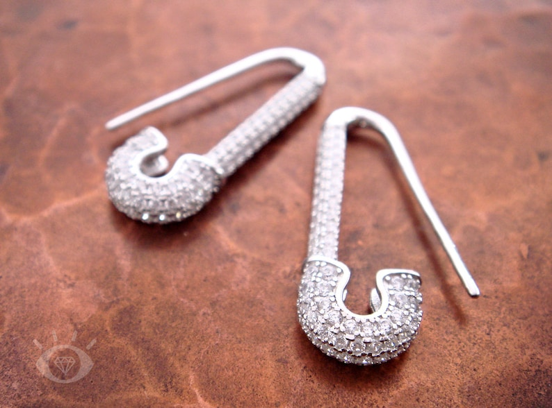 Goth Earrings Safety Pin /& Crystal Sterling Silver Hook Earrings Punk Jewelry Safety Pin Jewelry Punk Earrings Sterling Silver Earrings