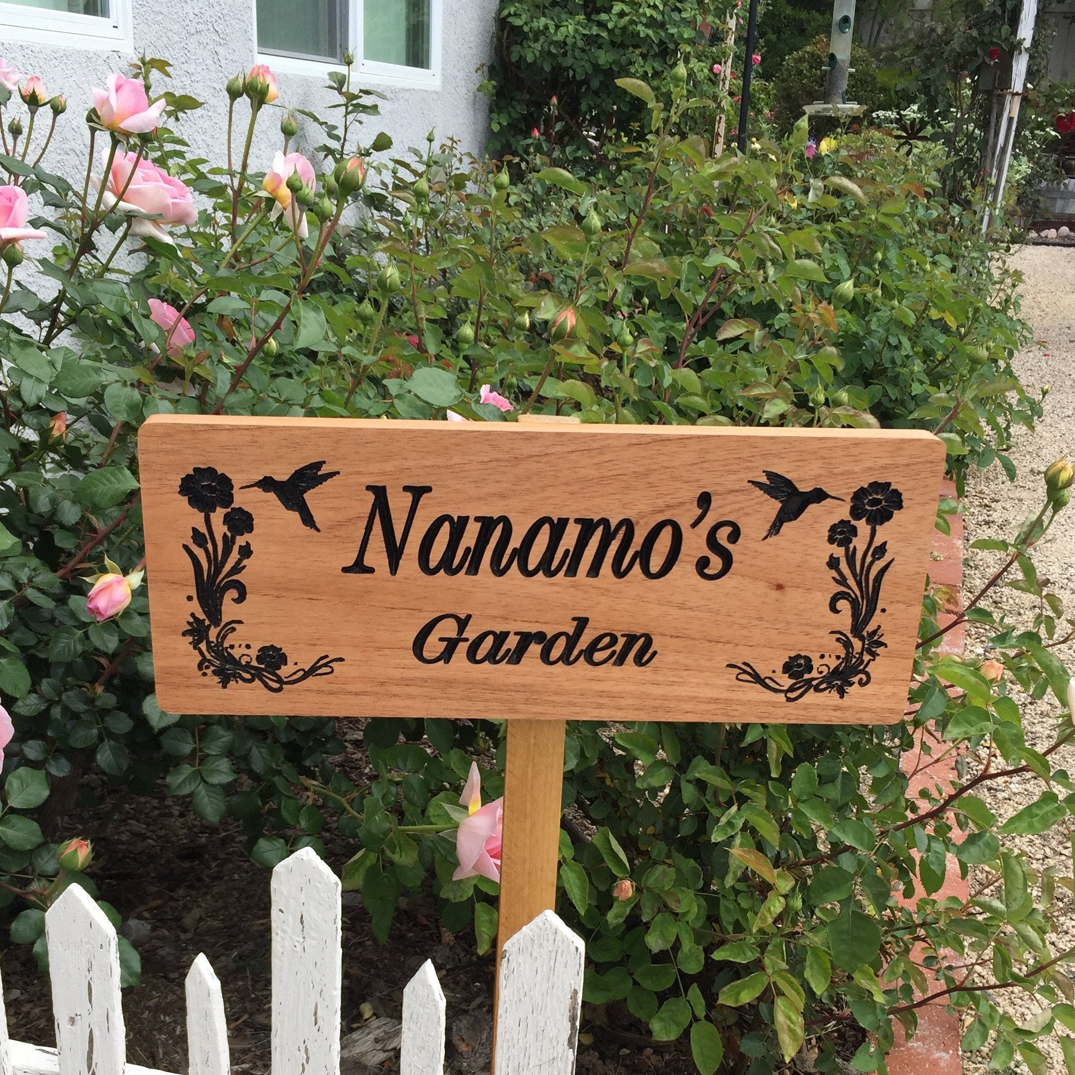 Garden Sign   Personalized Sign   Custom Wood Sign   Hummingbird   Carved  Sign   Rustic Sign   Farm Name   Spanish Cedar