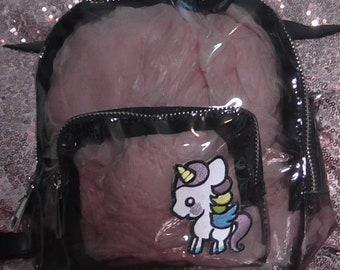 f4dfced5140 Een van een soort zwarte en kawaii Unicorn Perspex Mini rugzak handgemaakt  bewerkt door Adamo Boutique 2019 bereik