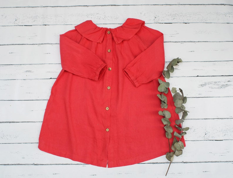 2-3 Tomato red linen dress Frill collar dress ChristmasLong sleeve dress Dress for autumn winterAvailable size 6-12m 3-4 18-24m 5-6