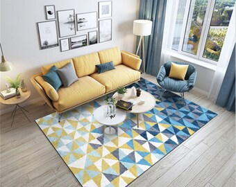 Blue And Yellow Rug Etsy