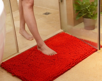 Red Bathroom Rug Etsy