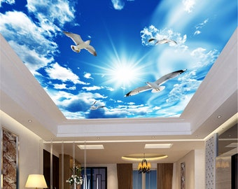 3D CEILING BLUE SKY CLOUD WALLPAPER PVC STICKY BACK PLASTIC FABLON SELF ADHESIVE
