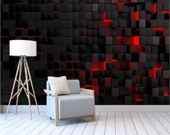 Black Red Wallpaper Etsy