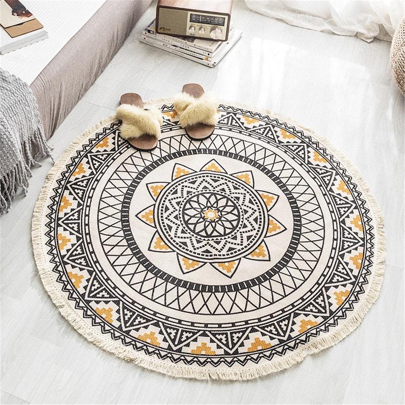 Cotton Linen Modern Hand Woven Tassel Round Floor Mat for Living Room Bedroom Tea Table Bedside Non-slip Area Rugs Floor Decor