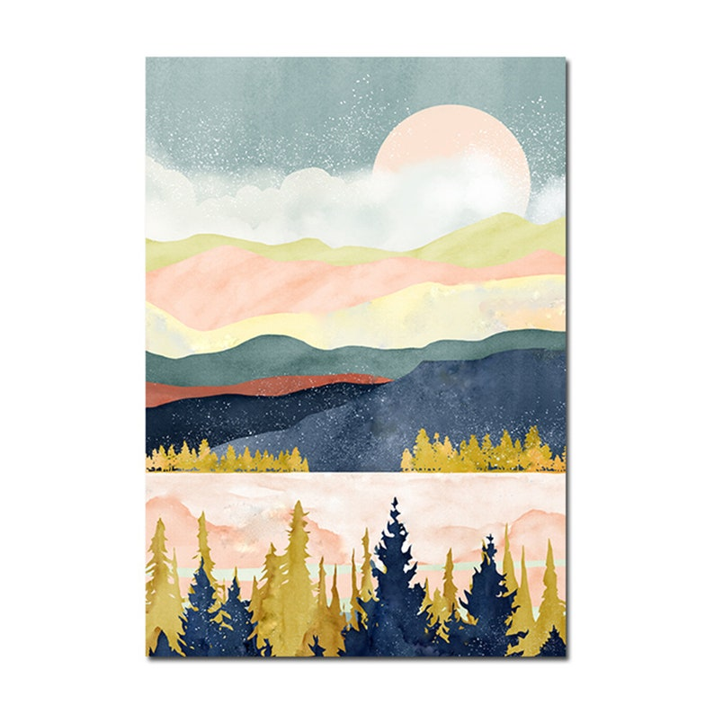 Nordic Poster Sunrise Sunset Landscape Print Wall Art Canvas Painting Decoration Wall Pictures for living Room Modern Home Decor