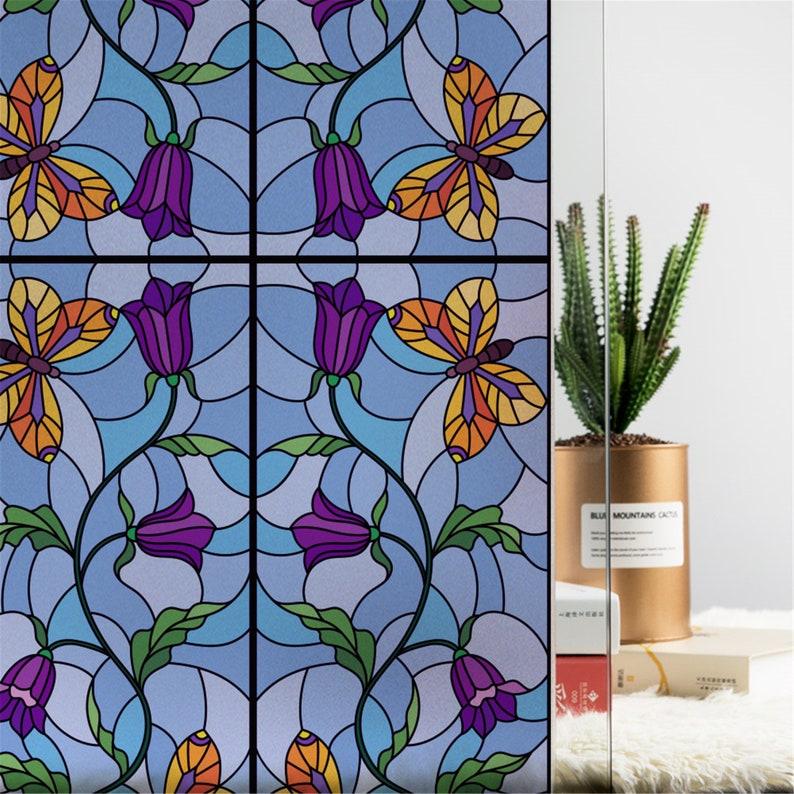 Stained glass window film Static window sticker Glass Film Sticker privacy Home Decor decorative  4590x200cm