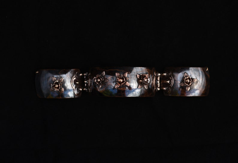 Forge Blackened with Coal Red Copper Roses ChokerCollar
