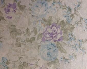 Rachel Ashwell Couture Roseblossom Cream Fabric Lilac and Light Teal Blue
