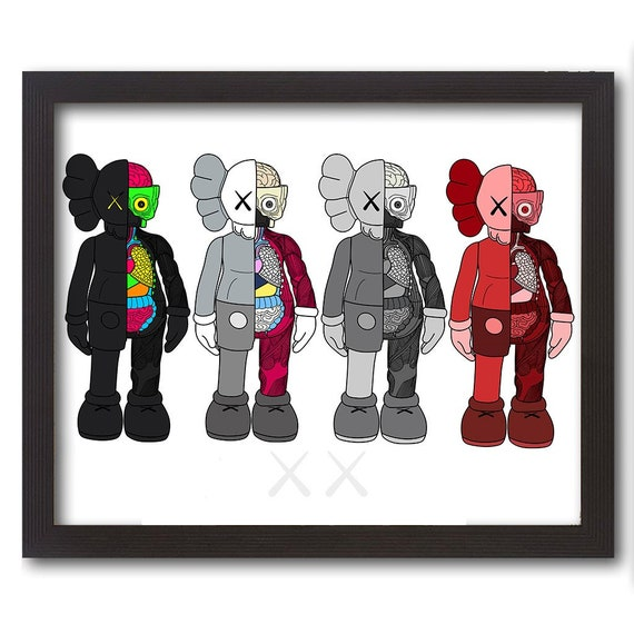 Kaws Dissected Vector Group Art color illustration poster print swag Modern  Vinyl Art Toy