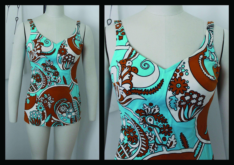 60s swimsuit,one piece,bathing suit, swimwear, swim overall, skirt,Size M,Bron Blue Swimsuit