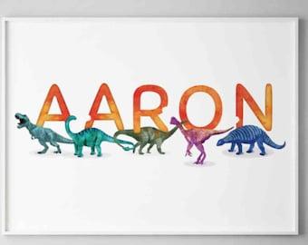 Aaron Watercolour Dinosaurs Printable, Horizontal Name Poster, Personalised Name Decor, Dinosaur Illustration Boy room Wall Art, Name Print