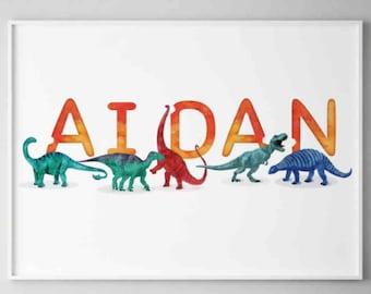Aidan Watercolour Dinosaurs Printable, Horizontal Name Poster, Personalised Name Decor, Dinosaur Illustration Boy room Wall Art, Name Print