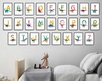 Set of 26 Alphabet Letters, Watercolor Dinosaur Instant download ABC Printable's, Nursery Alphabet Prints, Bedroom Wall Art Illustrations
