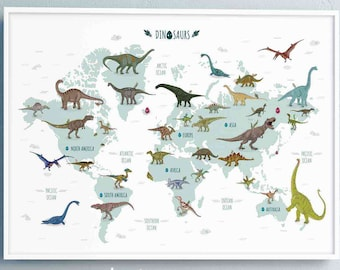 Dinosaur world map Printable Illustration, Horizontal jurassic world Poster, Nursery map Wall Decor, dinosaur theme nursery Interior design