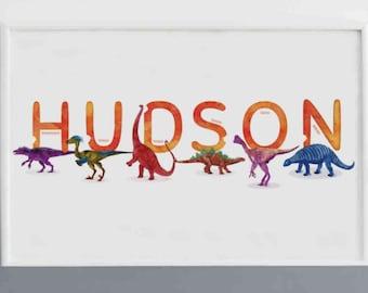 Louis Watercolour Dinosaurs Printable Name Print Dinosaur Illustration Boy room Decor Horizontal Name Poster Personalised Name Decor