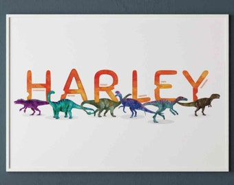 Harley Watercolour Dinosaurs Printable, Horizontal Name Poster, Personalised Name Decor, Dinosaur Illustration Boy room Decor, Name Print