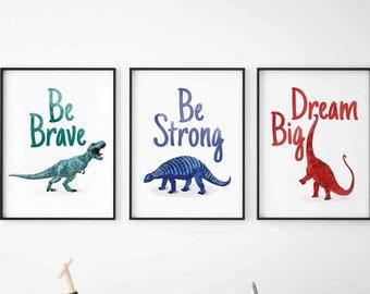 Watercolour set of 3 dinosaur motivational Printable's, Playroom dinosaur Poster, Nursery wall art decor, classroom dinosaurs Wall Decor