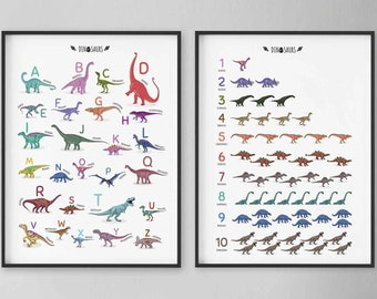 Set of 2 educational dinosaur ABC and numbers Prints, Alphabet Printable, Nursery 123 Art, Count to ten poster, Dinosaurs Wall Art Prints