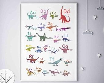 Alphabet Dinosaurs Colorful Print, Vertical ABC Poster, Nursery Alphabet Art, Classroom Decor, Dinosaurs Boy Bedroom Wall Art, Printable