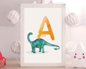Letter A, Apatosaurus Dinosaur Illustration, Alphabet Dinosaur Wall Art, kids room decor, Vertical ABC dinosaur print, Nursery art,Printable