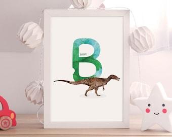 Letter B, Baryonyx Dinosaur Illustration, Alphabet Dinosaur Wall Art, kids room decor, Vertical ABC dinosaur print, Nursery art, Printable