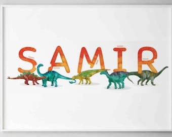 Samir Watercolour Dinosaurs Printable, Horizontal Name Poster, Personalised Name Decor, Dinosaur Illustration Boy room Wall Art, Name Print