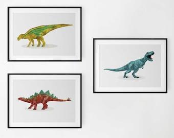 Watercolor Set of 3 Dinosaur Prints - Dinosaur Nursery Illustration, Kids Dinosaur wall Art, Boy Room Wall Decor, Kids room Dinosaur Decor