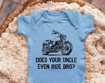 00a2d2fef Does your uncle even ride bro? Motorcycle Bike Uncle Grandpa Aunt Infant  Bodysuit Baby shower gift surprise pregnancy Toddler Youth Shirts