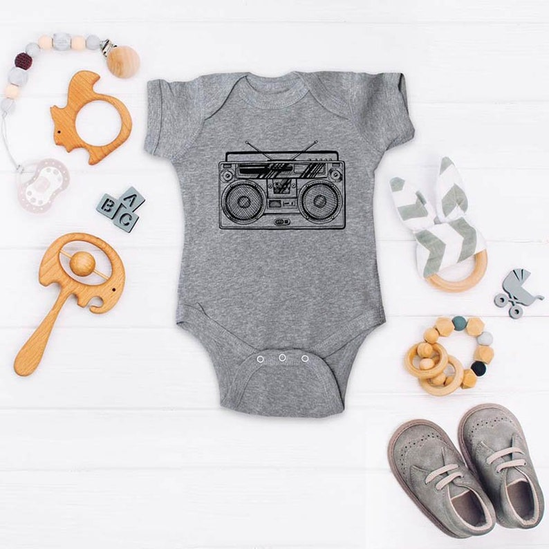 Boombox funny retro vintage music 80s turntable design Infant Bodysuit Baby shower gift surprise pregnancy announcement