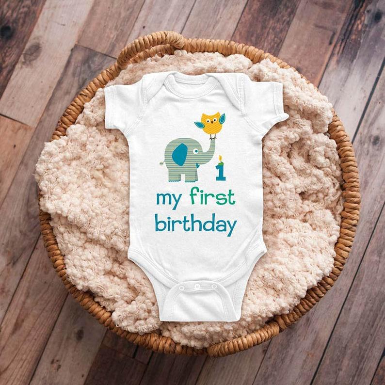 My first birthday elephant owl Girl or Boy Design First Birthday Baby Bodysuit Infant Shirt