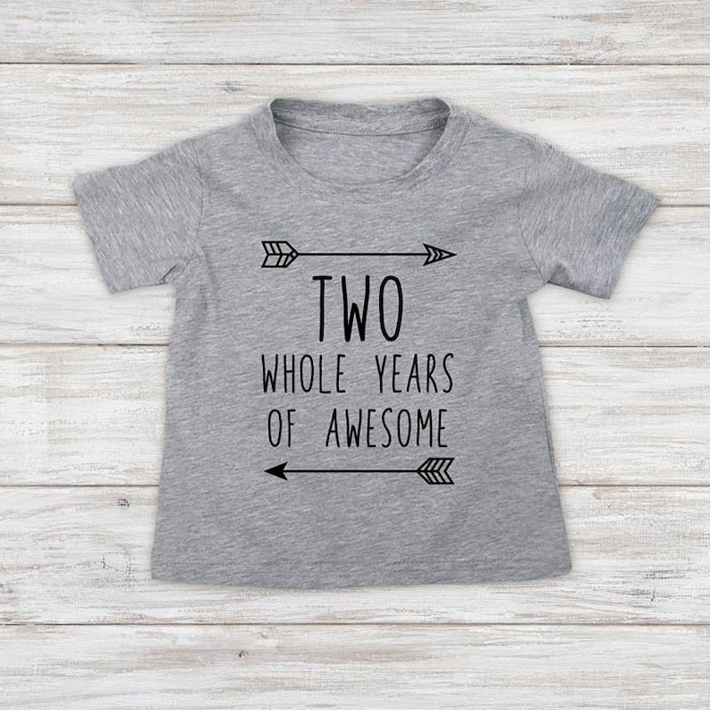 Two Whole Years of Awesome Two Second Birthday Kids Shirt Three 3rd 4th 5th Birthday Toddler Shirt
