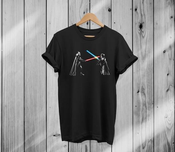 Star Wars Darth Vader VS Obi-Wan Kenobi Deathstar Battle Adult Black T-shirt Tee