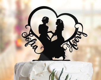 2d862dfdc94e Lesbian cake topper with names. Lesbian wedding cake topper. Mrs and Mrs  cake topper. Bride and Bride cake topper. 2 Brides cake topper L011