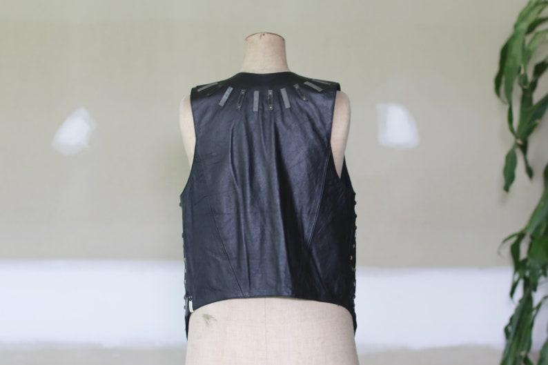 Vintage Metal /& Leather Vest l Leather Waistcoat l Leather Gilet l