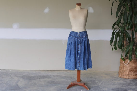 Vintage Denim Skirt l Button Down Denim l Hippie S