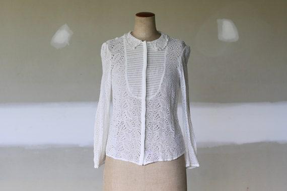 Vintage Victorian Cut Out Lace Blouse l Embroidery