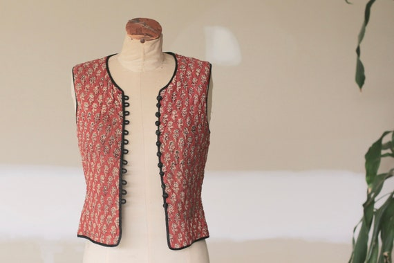 Vintage ANOKHI Hand Block Print Indian Cotton Vest