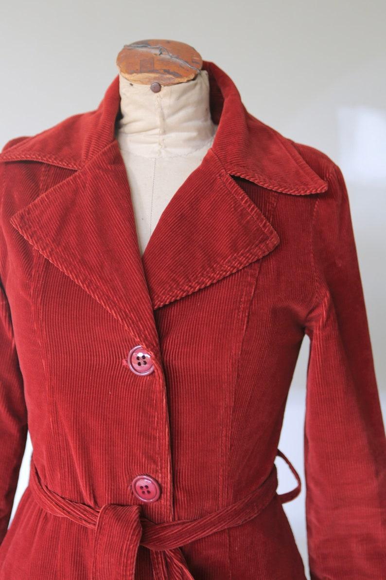 Vintage Corduroy Trench Jacket l Corduroy Coat l Winter Jacket l Retro Coat l Maroon Corduroy Jacket