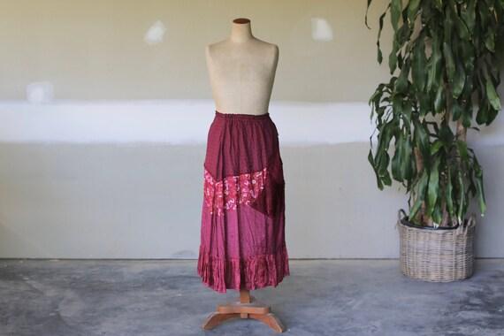 Vintage Floral Velvet Skirt l Hippie Boho Festival