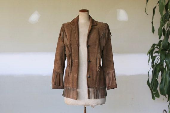 Vintage Suede Leather Fringe Jacket l Southwestern