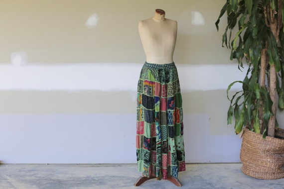 1970's Hippie Patchwork Maxi Skirt
