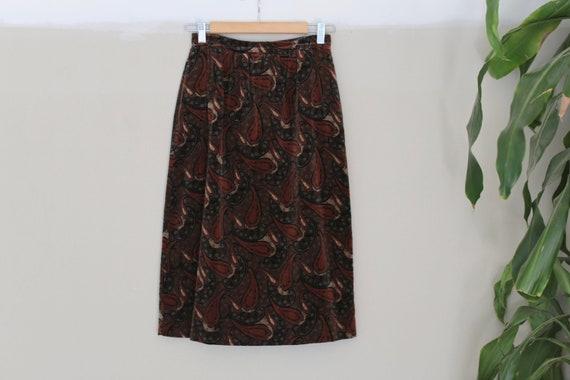 Vintage Velvet Paisley Skirt l 70's Velvet Skirt l
