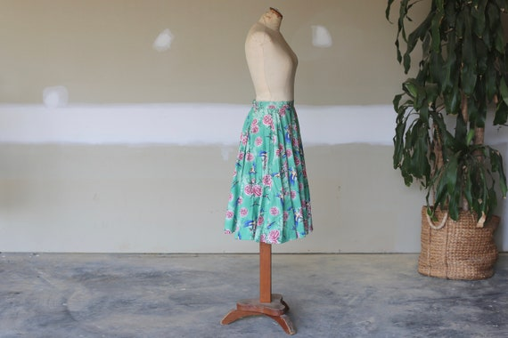 Retro Floral Skirt l Vintage Bird Skirt l Swing T… - image 3
