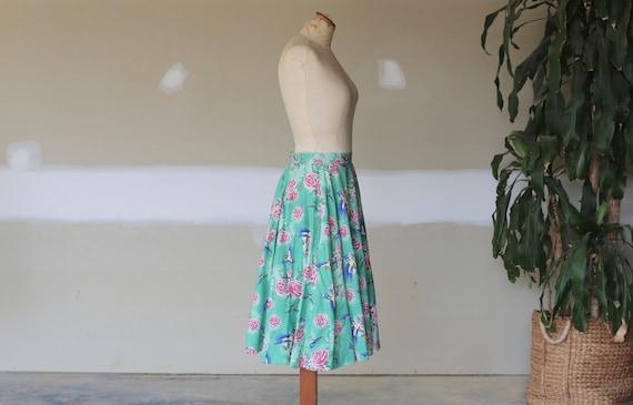 Retro Floral Skirt l Vintage Bird Skirt l Swing T… - image 4