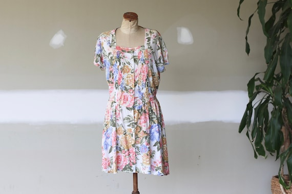 Vintage Floral Dress l Festival Cotton Boho l